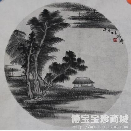 名家 冯涛 油画; - 冯涛 团扇山水小品 类别: 国画山水作品