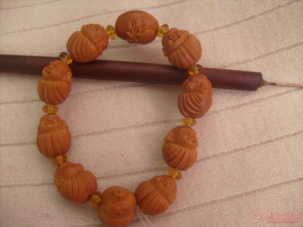 河北永清 - 橄榄核雕刻 阿福手串手链 一团和气 李曼款