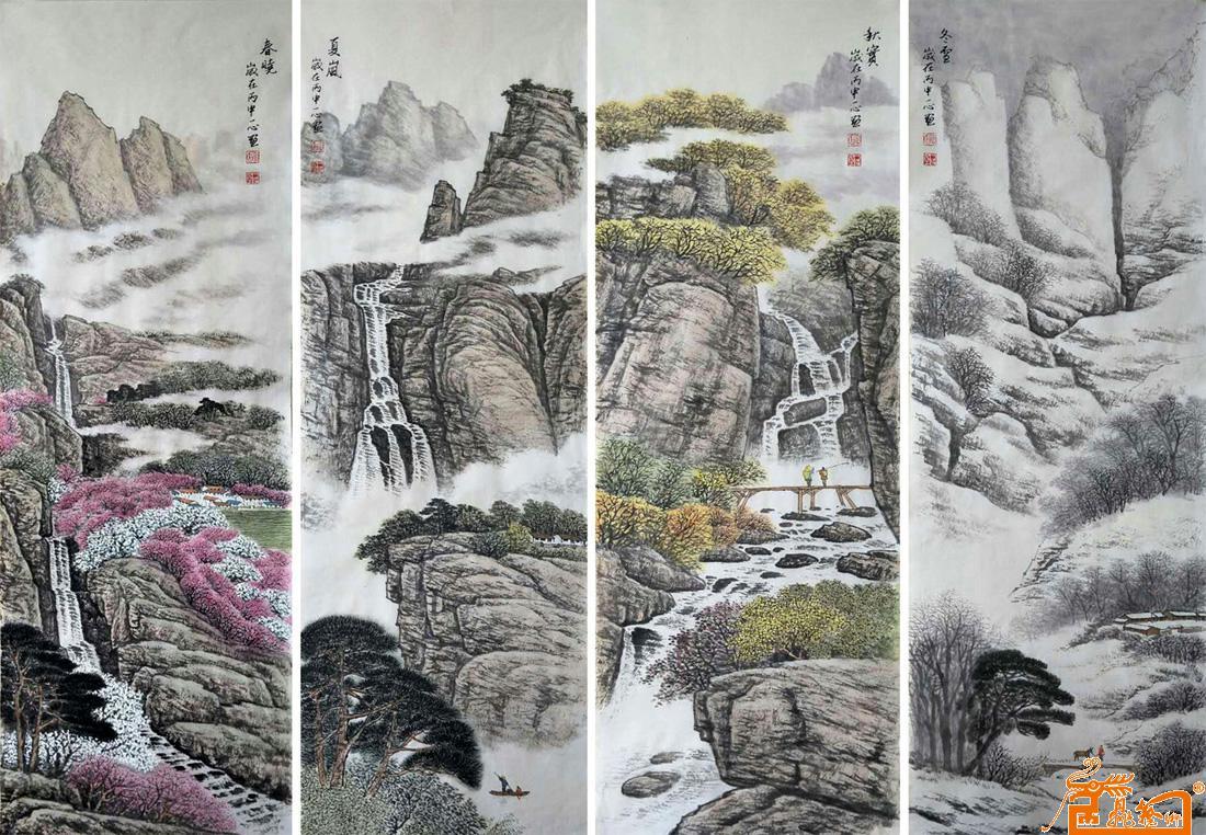 名家 耿一心 山水 - 四扇屏《春晓》《夏岚》《秋实》《冬雪》已售图片
